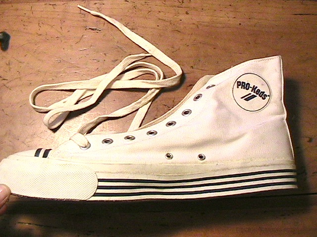 prokeds 1970s men canvas hitop sneakers amp logo rare
